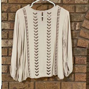 ⭐️Aritzia Wilfred boho mauve blouse with silk❤️EUC⭐️